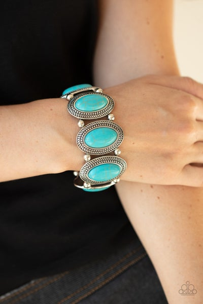 Until The Cows Come HOMESTEAD - Turquoise oval stones Stretchy Bracelet
