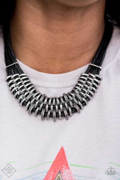 Pre-Sale Lock, Stock, and SPARKLE - Black Leather with Silver Necklace & Earrings