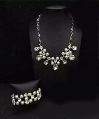 Demurely Debutante with Diamonds and Debutantes - Rhinestone with Pearl Necklace/Bracelet Set