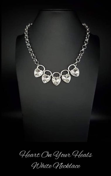 Heart on Your Heels - Silver with Heart-Shaped Rhinestones Necklace & Earrings - January 2021 Life of the Party Exclusive