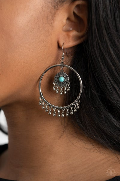 Pre-Sale Sunny Equinox - Silver Hoop with Tassels and a Turquoise sunburst center Earrings