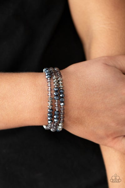 Stellar Strut - Three strands of Blue & Smoky Crystal Bead Bead Bracelet