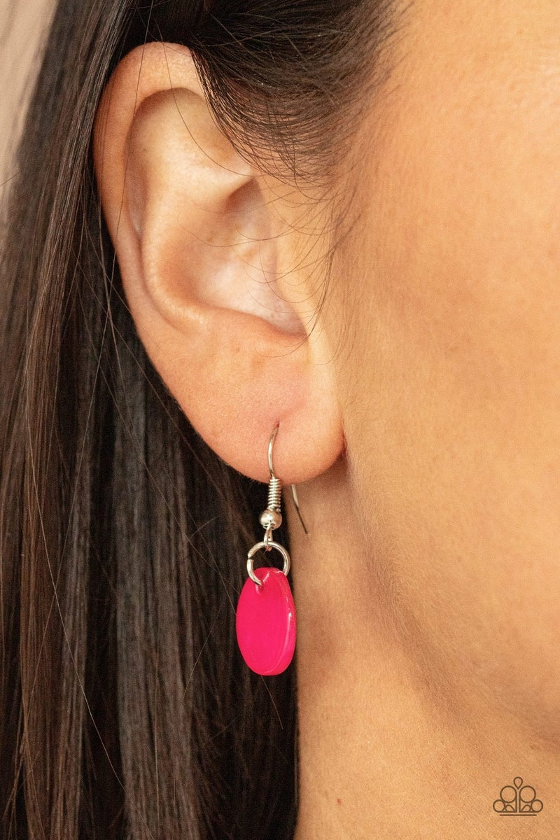 Tidal Tassels - Pink Shell-like tassels from Gray Cords Necklace & Earrings