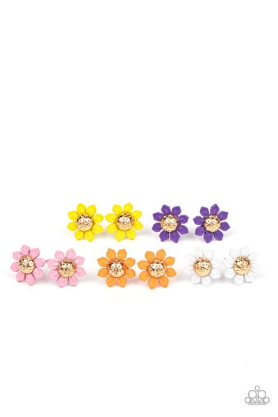 Assorted colors and shapes of Floral Post Back Earrings for Kids or the Kid at Heart