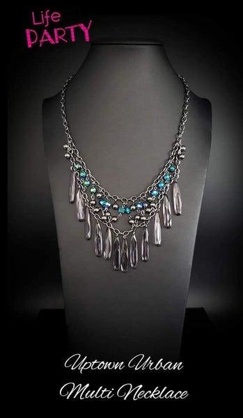 Uptown Urban - Gunmetal & Oil Spill Necklace & Earrings