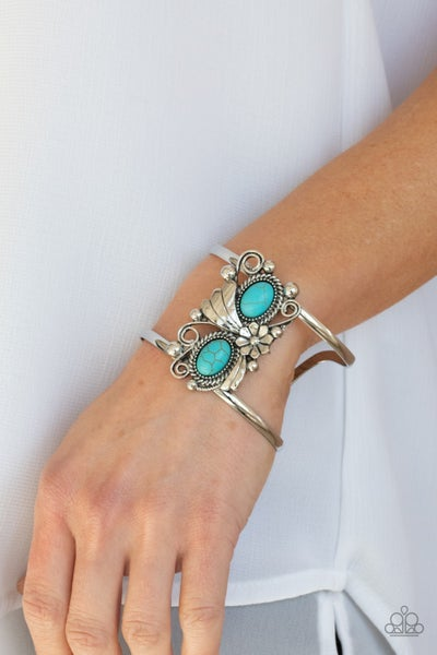 Mojave Flower Girl - Turquise ovals in Silver Floral frames Cuff Bracelet