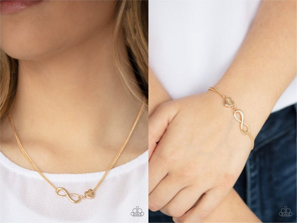 Love Eternally & Purest Love Set - Gold Infinity Symbol & Heart stamped with Mom Necklace, Earrings & Bracelet Set