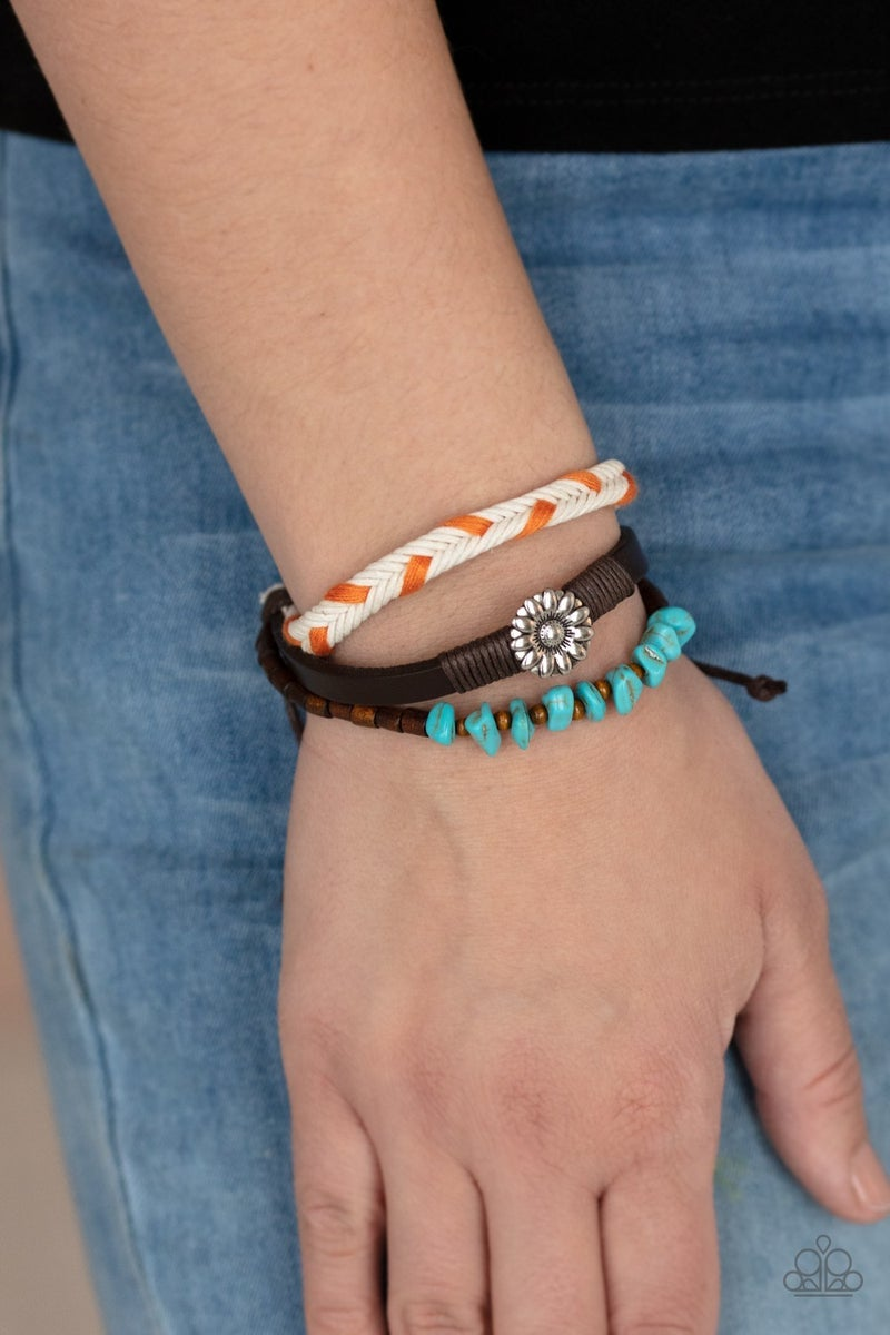 Terrain Trend - Orange Beads with Turquoise, Braided Leather & Silver Floral Centerpiece sliding knot/pull tight Bracelet