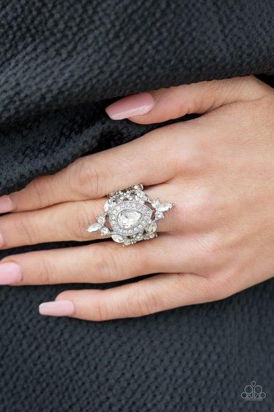 Mega Stardom -Silver with White Rhinestones Ring