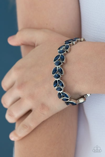 Gilded Gardens - Silver with Blue Rhinestones Stretch Bracelet