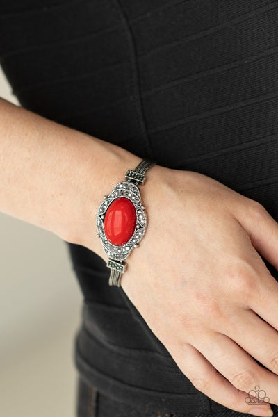 Pre-Sale Top-Notch Drama - Silver encrusted with Hematite & a Red crackle center Bracelet