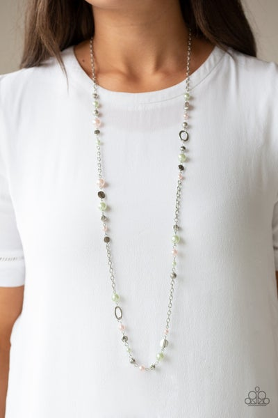 Make An Appearance - Silver with Multi Beads Necklace & Earrings