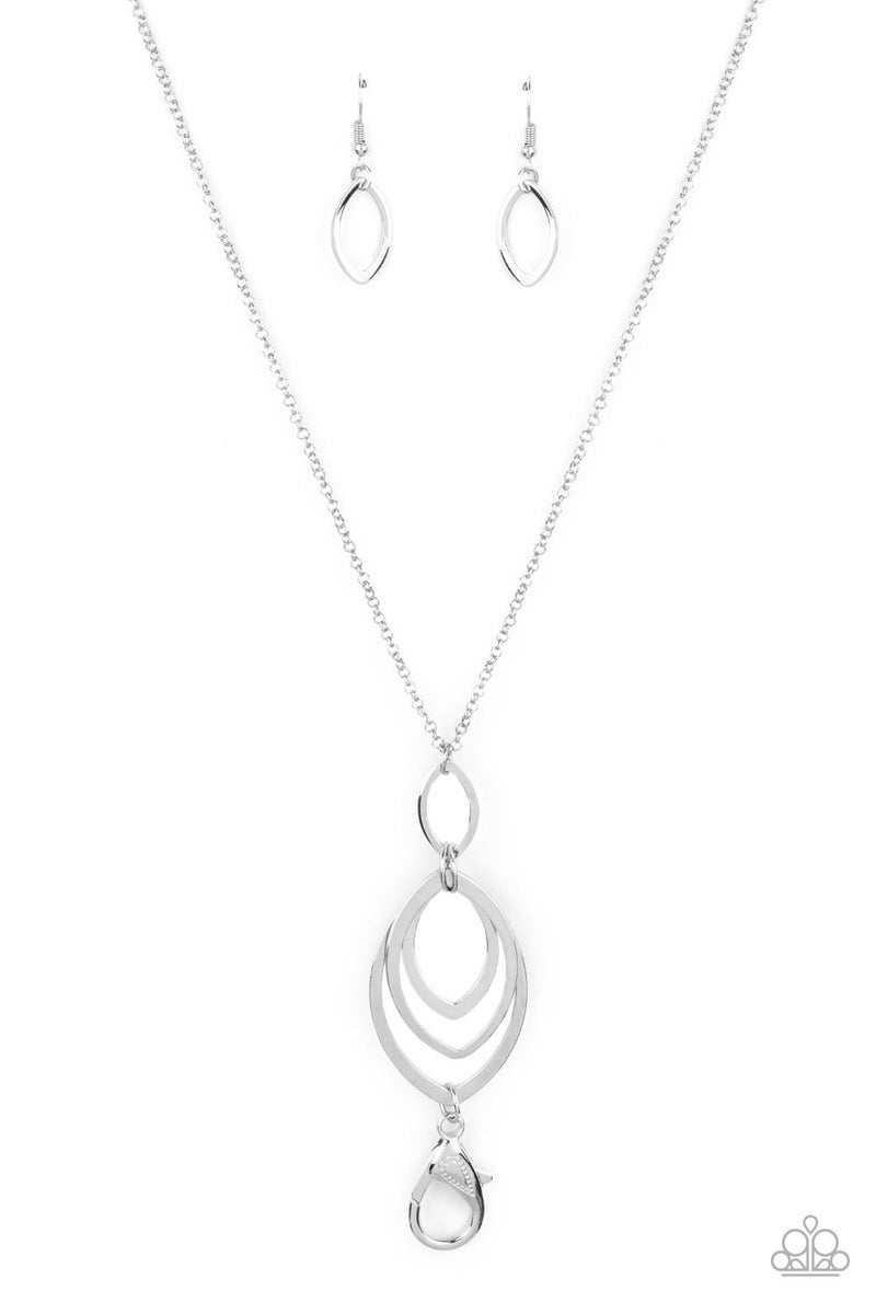 Dizzying Definition - Silver almond shaped Silver frames attached to a Lobster Claw Lanyard Necklace & Earrings