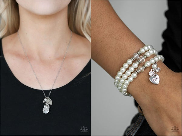 """That's My Mom & Mom Wow - Silver with White Pearls, Rhinestones & Charms stamped with """"Mom"""", """"Hero"""" & """"Love"""" Necklace, Earrings & Bracelet Set"""