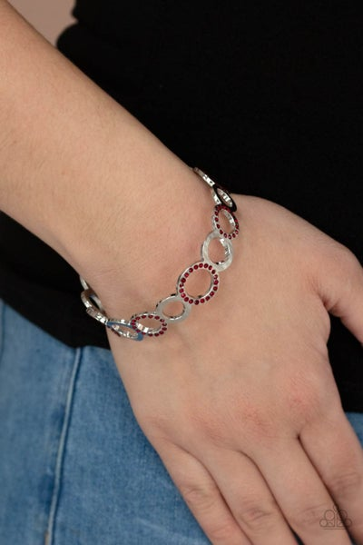 Future, Past, and POLISHED - Silver with Red Rhinestone encrusted hoops Bangle Bracelet