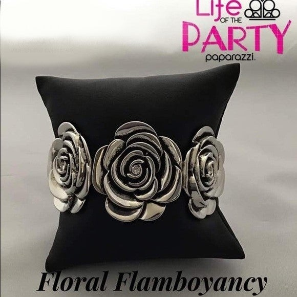 Floral Flamboyancy - Silver Flowers with White Rhinestone centers Bracelet - Life of the Party Exclusive