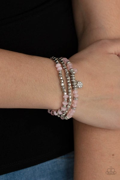 Glacial Glimmer - Silver discs, cubes & Pink Moonstone crystals Bracelets