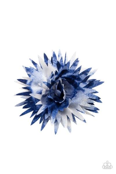 Pre-Order My Favorite Color Is Tie Dye - Blue & White tie-dye Hair Bow Clip
