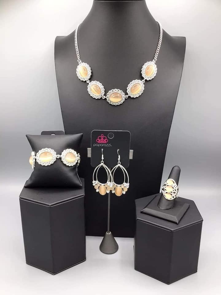 Glimpses of Malibu - Silver with Orange Moonstones & Rhinestones 4 pc Set - February 2021 Fashion Fix