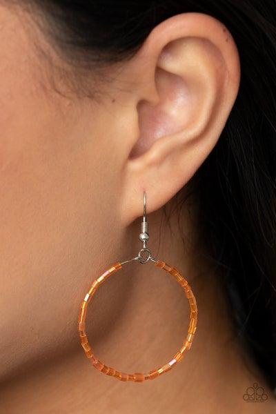 Colorfully Curvy - Iridescent Orange Hoop Earrings