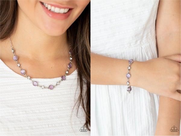 Pre-Order Inner Illumination & Use Your Illimination -  Purple Moonstone Necklace, Earrings & Bracelet 2 Pc Set