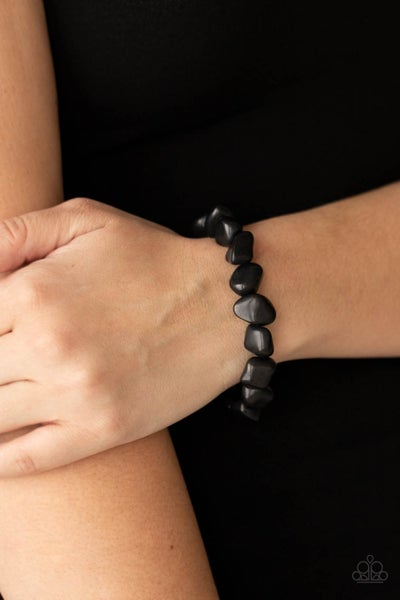 Pre-Order Prehistoric Paradise - Black Stones on invisible threaded Bracelet