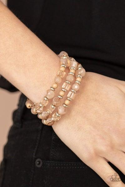 Girly Girl Glimmer - Brown Moonstone Bead Coil Bracelet