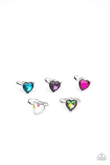 Silver with Iridescent Rhinestone Heart Kid's Rings