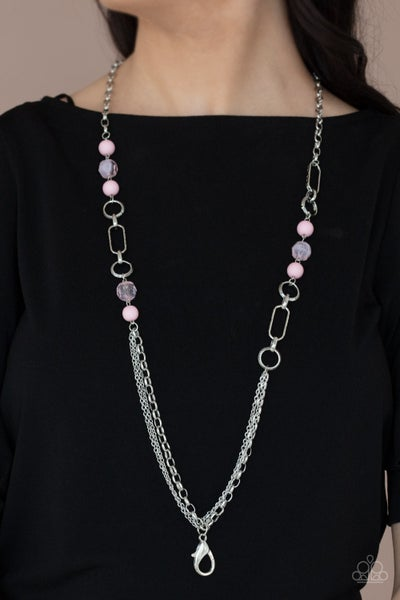 Pre-Sale POP-ular Opinion​ - Silver wih Pink Crystals and Lanyard Clip Necklace with Earrings
