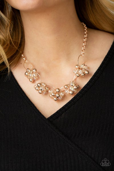 Pre-Sale Effervescent Ensemble - Rose Gold with Iridescent & Shiny Rose Gold beads Necklace & Earrings