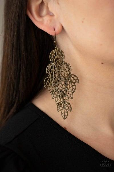 Pre-Sale The Shakedown - Cascading Brass Leaves Earrings