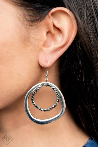 Spinning With Sass - Silver Hoops with Hematite Rhinestones Earrings