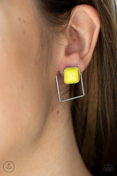 Pre-Order FLAIR and Square - Yellow Bead with a Silver square Jacket Earring