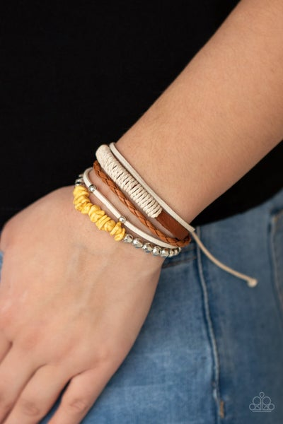 Keep At ROAM Temperature - Leather & Suede with Yellow Beads slip knot/pull tight Bracelet