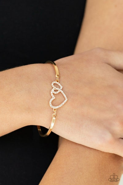 Cupid is Calling - Gold double Heart with Rhinestones Bracelet