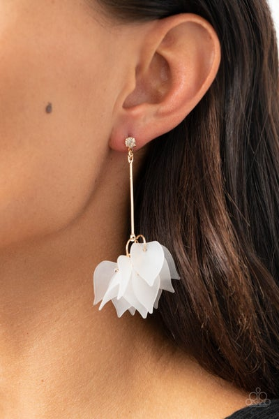 Pre-Sale - Suspended In Time - Gold with suspended White Acrylic Petals Earrings