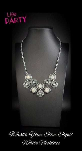 Whats Your Star Sign? Silver with White Opal Gems Necklace - A Life of the Party Exclusive