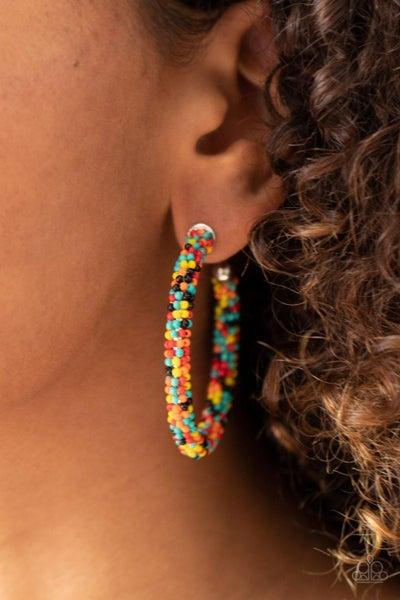 BEAD My Lips! - Multi-color seed bead Hoop Earrings
