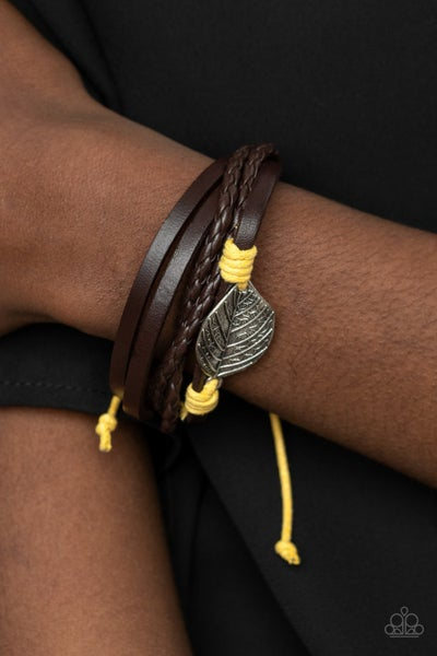 FROND and Center - Brown Leather with Yellow accents & a Silver Leaf slip knot/pull tight Bracelet