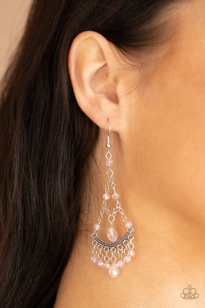 Pre-Order First In SHINE - Silver with Pink Crystal chandelier Earrings