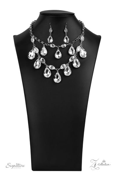 The Sarah - Silver with Layers of Large Teardrop Rhinestones Necklace - 2020Zi