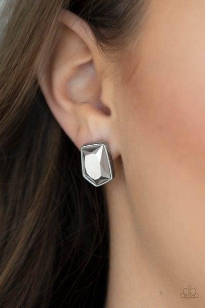 Indulge Me - Silver with asymmetrical Hematite Gem Earrings
