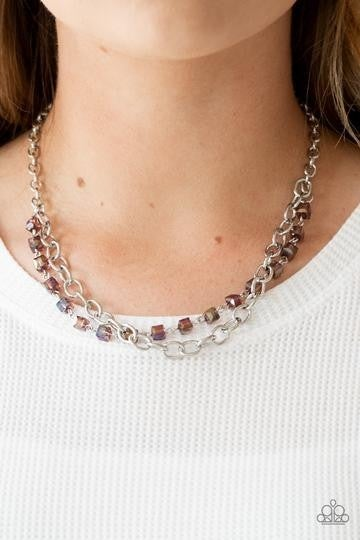 Block Party Princess - Necklace with Earrings in Iridescent Purple