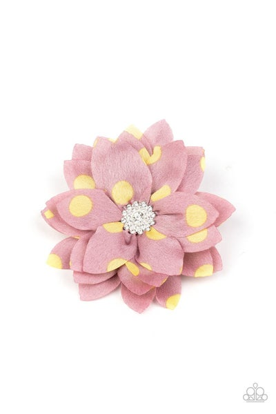 Silk Gardens - Pink Petals with Yellow Polka Dots & a White Rhinestone encrusted Center Hair Clip