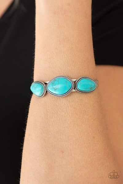 Stone Solace - Silver with Oval Turquoise Stones Cuff Bracelet