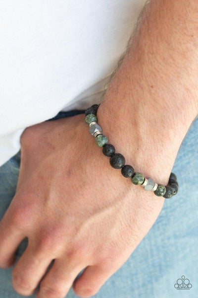 Strength - Green Stones with Lava Beads Bracelet