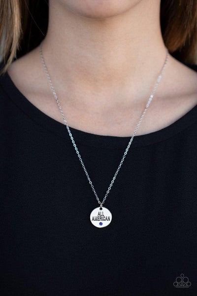 """All American, All The Time - Silver pendant engraved """"All American"""" with Blue Crystal Necklace & Earrings"""