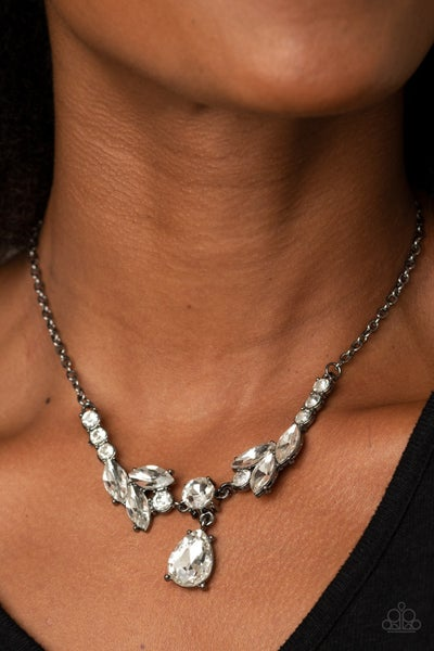 Pre-Sale - Unrivaled Sparkle - Gunmetal with tiers of white rhinestones Necklace & Earrings