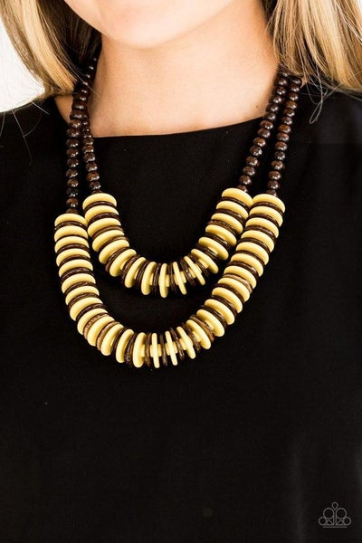 Dominican Disco - Two rows of Brown & Yellow Wooden Discs Necklace & Earrings