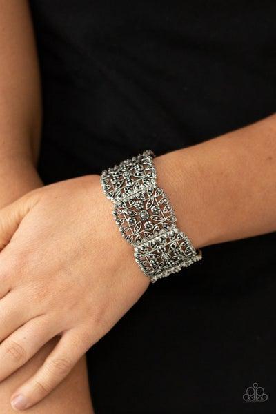 Enchanted Vineyards - Silver ornately studded filigree Stretch Bracelet